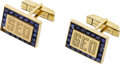Estate Jewelry:Cufflinks, A PAIR OF SAPPHIRE, GOLD CUFF LINKS. ...