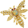Jewelry, AN OPAL, DIAMOND, RUBY, GOLD BROOCH. ...