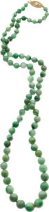 Jewelry, A JADEITE JADE, GOLD NECKLACE. ...