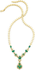 Jewelry, AN EMERALD, DIAMOND, GOLD NECKLACE. ...