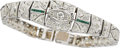 Jewelry, AN ART DECO DIAMOND, EMERALD, PLATINUM BRACELET . ...