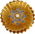 Jewelry, A SAPPHIRE, DIAMOND, GOLD BROOCH. Property of a Dallas Lady...