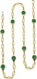 Jewelry, A MALACHITE, GOLD NECKLACE. Property of a Dallas Lady...