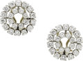 Estate Jewelry:Earrings, A PAIR OF DIAMOND, WHITE GOLD EARRINGS. ...