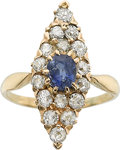 Estate Jewelry:Rings, A SAPPHIRE, DIAMOND, GOLD RING. ...