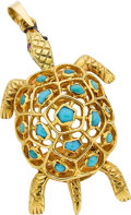 Estate Jewelry:Lockets - Pendants , A TURQUOISE, GOLD PENDANT, BOUCHERON, PARIS. ...