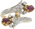 Estate Jewelry:Rings, A RUBY, DIAMOND, PLATINUM-TOPPED GOLD RING. ...
