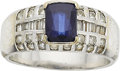 Estate Jewelry:Rings, A SAPPHIRE, DIAMOND, WHITE GOLD RING. ...