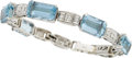 Estate Jewelry:Bracelets, AN AQUAMARINE, DIAMOND, WHITE GOLD BRACELET. ...