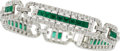 Estate Jewelry:Bracelets, AN EMERALD, DIAMOND, WHITE GOLD BRACELET. ...