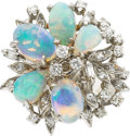 Estate Jewelry:Rings, AN OPAL, DIAMOND, WHITE GOLD RING. ...