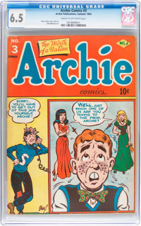 Archie Comics #3 (Archie, 1943) CGC FN+ 6.5 Cream to off-white pages