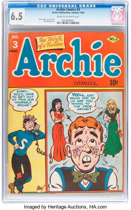 Archie Comics #3 (Archie, 1943) CGC FN+ 6.5 Cream to off-white pages....