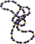 Jewelry, A LAPIS LAZULI, GOLD BEAD NECKLACE. Property of a Dallas Lady...