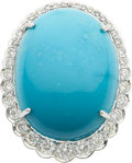 Estate Jewelry:Rings, A TURQUOISE, DIAMOND, WHITE GOLD RING. ...