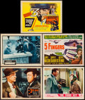 "Movie Posters:Film Noir, The Third Man & Others Lot (20th Century Fox, R-1956). Lobby Cards (3), & Title Lobby Cards (2) (11"" X 14""). Film Noir.. ... (Total: 5 Items)"