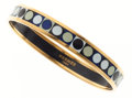 Luxury Accessories:Accessories, Hermes 70mm Black, White & Blue Enamel Bracelet with GoldHardware . ...