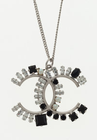 Chanel Black & Silver Necklace with CC Motif Pendant