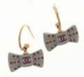 Luxury Accessories:Accessories, Chanel Gray & Pink Ribbon Motif Earrings with Gold Hardware....