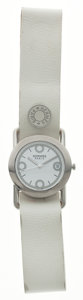 Luxury Accessories:Accessories, Hermes Stainless Steel & White Courchevel Leather BareniaWatch. ...