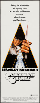"""A Clockwork Orange (Warner Brothers, 1971). Insert (14"""" X 36"""") X-Rated Style. Science Fiction"""
