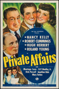 "Movie Posters:Romance, Private Affairs (Universal, 1940). One Sheet (27"" X 41""). Romance.. ..."
