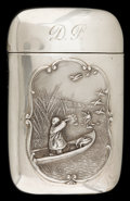 Silver Smalls:Match Safes, AN AMERICAN SILVER AND SILVER GILT MATCH SAFE . Circa 1900. Marks:STERLING. 2-3/8 inches high (6.0 cm). 1.0 troy ounces...