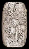 Silver Smalls:Match Safes, AN AMERICAN SILVER-PLATED MATCH SAFE. Circa 1900. Marks: SILVERSOLDERED 096. 2-1/2 inches high (6.4 cm). 1.18 troy ounc...