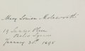 Autographs:Authors, Mary Louisa Molesworth (1839-1921, English children's author).Clipped Signature. Measures 4.75 x 3 inches. Very good. ...