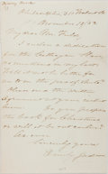 "Autographs:Authors, Emily Chubbuck Judson (""Fanny Forrester,"" 1817-1854; American poetand children's author). Autograph Letter Signed. Measures..."