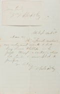 Autographs:Authors, Joel T. Headley (1813-1897, American author). Autograph LetterSigned and Clipped Signature. Letter is octavo, with creases....