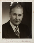 Autographs:Statesmen, James Edward Murray (1876-1961, US Senator). Photograph Signed.Black and white. Measures 8 x 10 inches. Three tears, with l...