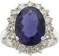 Estate Jewelry:Rings, AN IOLITE, DIAMOND, WHITE GOLD RING. ...