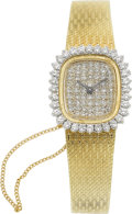 Jewelry, A LADY'S DIAMOND, GOLD WRISTWATCH. ...