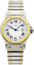 Jewelry, A CARTIER LADY'S GOLD AND STAINLESS STEEL SANTOS WRISTWATCH. ...