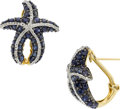 Jewelry, A PAIR OF DIAMOND, SAPPHIRE, GOLD EARRINGS. ...