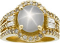 Estate Jewelry:Rings, A STAR SAPPHIRE, DIAMOND, GOLD RING. ...