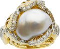 Estate Jewelry:Rings, A FRESHWATER CULTURED PEARL, DIAMOND, GOLD RING. ...