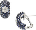 Estate Jewelry:Earrings, A PAIR OF DIAMOND, SAPPHIRE, WHITE GOLD EARRINGS. ...
