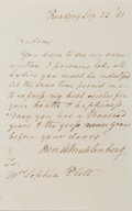 Autographs:Statesmen, Henry A.P. Muhlenberg (1782-1844, US Minister to Austria).Autograph Letter Signed. September 23, 1941. Measures 4 x 6.5inc...