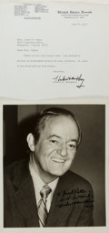 Autographs:Statesmen, Former Vice President and Senator Hubert Humphrey Photograph andTyped Letter Signed. Ca. 1976. Measures roughly 8 x 10 inch...