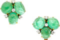 Estate Jewelry:Earrings, A PAIR OF EMERALD, DIAMOND, GOLD EARRINGS. Property of a DallasLady...