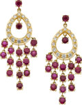 Jewelry, A PAIR OF DIAMOND, RUBY, GOLD EARRINGS. ...
