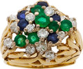 Estate Jewelry:Rings, A DIAMOND, SAPPHIRE, EMERALD, GOLD RING. ...