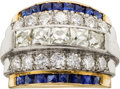 Estate Jewelry:Rings, A DIAMOND, SYNTHETIC SAPPHIRE, PLATINUM, GOLD RING. ...