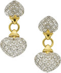 Estate Jewelry:Earrings, A PAIR OF DIAMOND, GOLD EARRINGS. ...