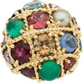 Estate Jewelry:Rings, A MULTI-STONE, GOLD RING . ...