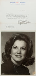 Autographs:Statesmen, US Senator Elizabeth Dole Photograph Signed. Measures roughly 8 x10 inches. Black and white. Small stain with scratches to ...