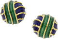 Estate Jewelry:Earrings, A PAIR OF ENAMEL, GOLD EARRINGS, TIFFANY & CO.. ...