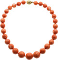 Jewelry, A CORAL, DIAMOND, GOLD NECKLACE. ...